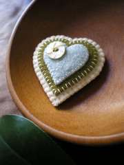 stacked up (lilfishstudios) Tags: hearts recycled handmade sewing brooch craft accessories offwhite stacked skyblue mossgreen vintagebutton feltedwool lilfishstudios