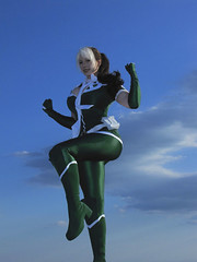 Rogue in Flight (BelleChere) Tags: flying costume comic cosplay xmen rogue marvel legacy bellechere