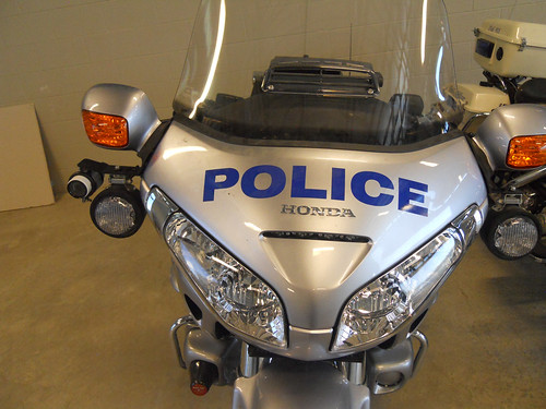 Police motorcycle, front view