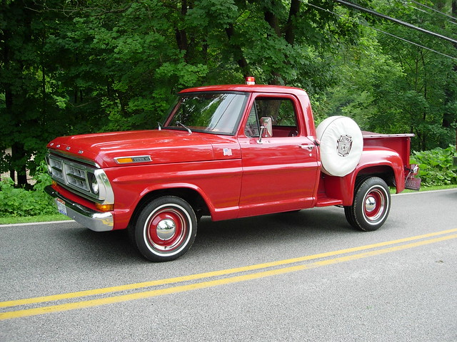 red ford truck 1971 pickup f100 stepside