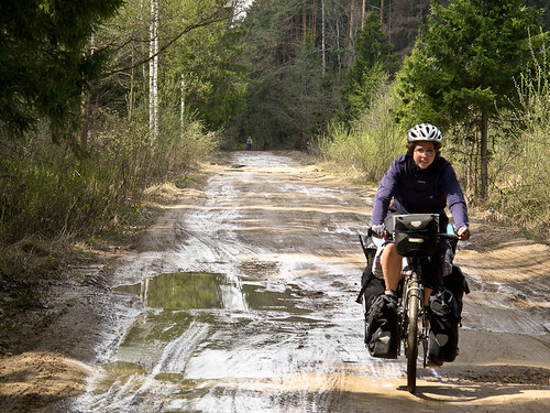 Emma cycling on Russian road