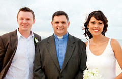 Rev'd Mark Calder with Wedding Couple