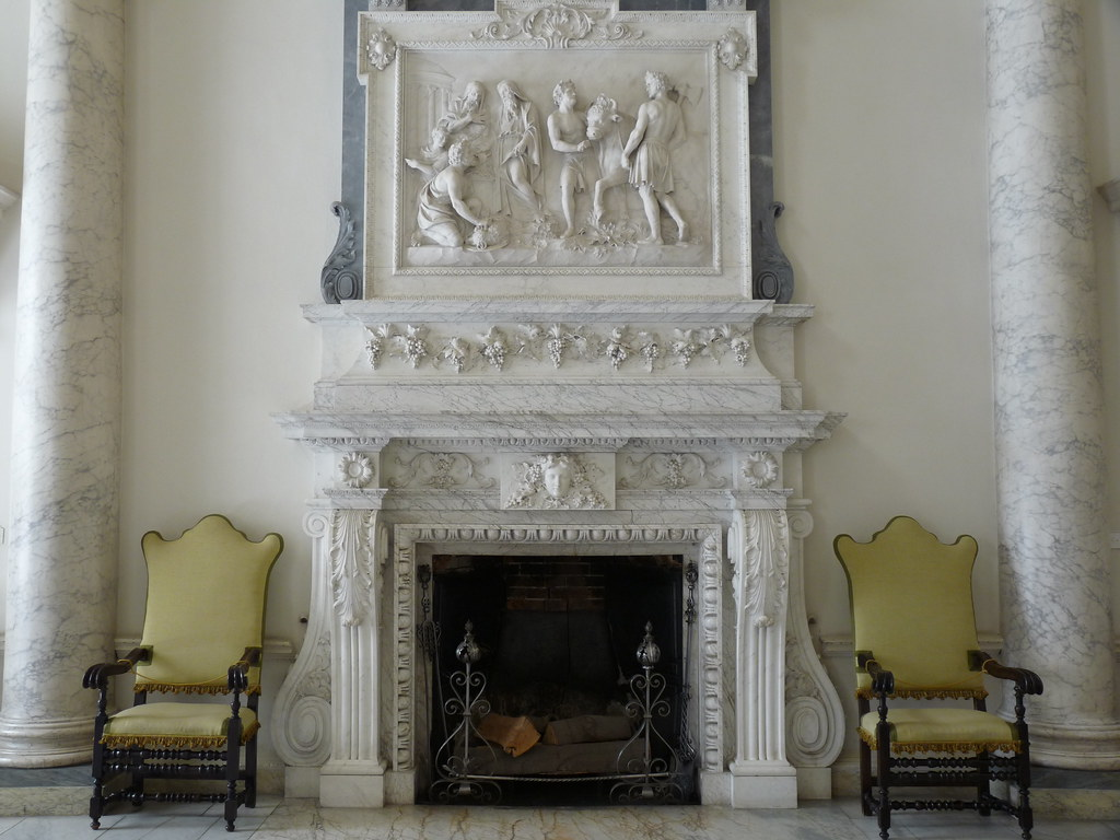 neoclassical fireplace in the Marble Hall, Clandon Park