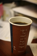 """Life is too short not to enjoy great coffee"" (ginnerobot) Tags: cup coffee work 50mm mess desk bokeh togo lunchbreak myoffice project365 secondcupoftheday iminthemiddleofwritingagrantsoineedasmuchcoffeeaspossible"
