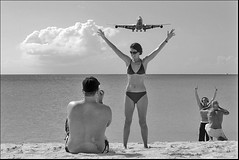 (Casey Veranth) Tags: vacation up airplane jet bikini sunsetbeach caribbean stmaarten tropics 747 jumbojet sxm airliner mahobeach