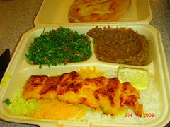 Iranian fish (mahi), tabuli and eggplant meal - Kingdom Tower food court (BoydJones) Tags: fish cuisine persian eggplant saudi iranian riyadh saudiarabia mahi ksa kingdomtower