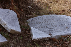 Closeup of Broken Headstone (bwcImages) Tags: cemetaries