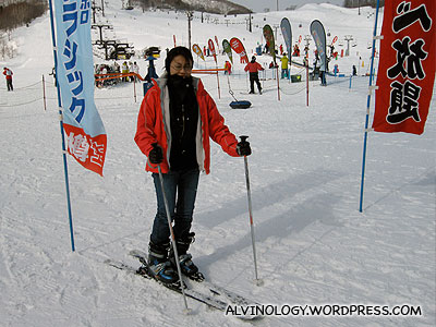 Rachel pretending to ski