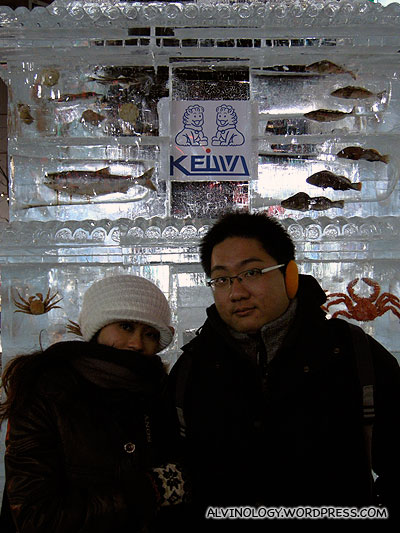 Ice sculpture with embedded frozen seafood