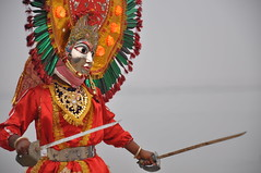 Durga Costume, Varanasi India (Laura Dunn-Mark) Tags: india river movie costume scene holy acting varanasi sword actor production swords 2008 filming ganga durga ganges ghats ghat uttarpradesh lauradunnmark