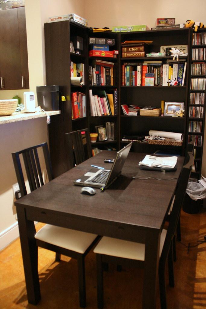 dining area & bookshelves
