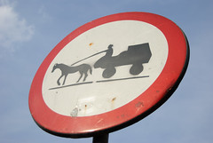 No Rollerskates with Tiny People and Horses Allowed (zedworks) Tags: blue red sky horse white sign outside outdoors nikon traffic sunny romania photowalk 1855 cart transylvania tgmures mures targumures disallow d80