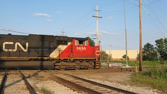Southbound Canadian National heavy transfer freight train passing through Hawthorne Junction. Chicago / Cicero Illinois. June 2008.