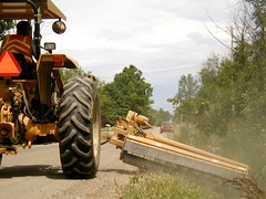 Mowing Around Traffic (geneseecountyroads) Tags: road county tractor highway mower commission genesee gcrc