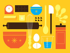 Baking (Katie Kirk) Tags: food cute kitchen horizontal set modern illustration dessert restaurant baking cafe pattern symbol chocolate label spoon hobby retro sugar domestic butter bakery eggs ornate flour simple bowls vector kirk spatula rollingpin chocolatechip measuringcup whisk measuringspoons kitchenutensil bakingsupplies cookingutensil designelements eighthourday sweetfood katiekirk andstoragecontainer clipartoccupation