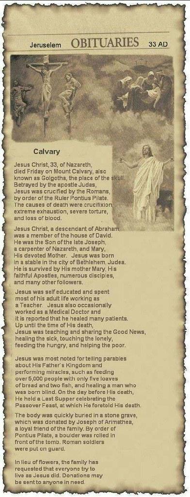 Obituary Jesus
