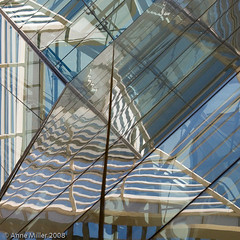 glass8 (Annie Miller Studio) Tags: blue brown abstract art glass architecture downtown translucent sacramento newdirections artlegacy abstractartaward calltoartists abstractarts structureswithatouchofabstract