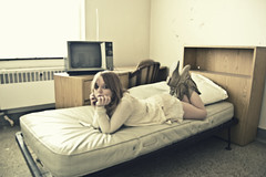(yyellowbird) Tags: white selfportrait chicago abandoned girl television hospital bed blurry cari michaelreese