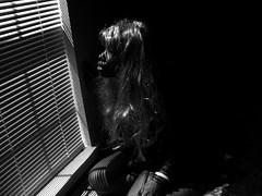 (ashlee.) Tags: light blackandwhite bw selfportrait black window female self empty wig blinds