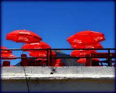 Red and Blue (blamstur) Tags: cruise blue red vacation sky catchycolors tenerife umbrellas canaryislands 15challengeswinner