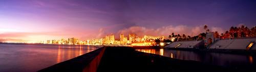 Waikiki at sunset from the War Memorial Natatorium
