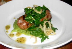 Martin's West in Redwood City -  Pheasant and Leek Banger on a Fava bean mash