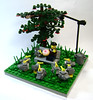Hitchcock said there would be days like these (DARKspawn) Tags: park city tree birds cake corner bench town streetlight lego hitchcock pidgeon module blbdc