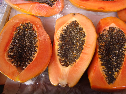 Papayas at a West Indian market, Classon Ave., Brooklyn