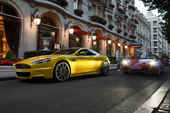 Tweety... & Sylvester? ([ JR ]) Tags: red paris yellow jaune rouge hotel martin ferrari supercar aston qatar exotics f430 dbs combo plazza althani athénée fialeix