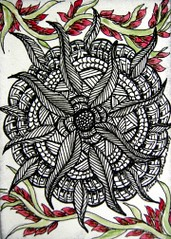 Zentangle 09082 (Chatty Wacky Whims) Tags: art atc pencil ink watercolor zentangle