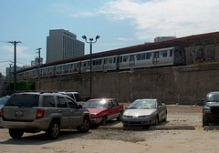 Northbound CTA red line train at the Loyola station. Chicago Illinois. September 2006.