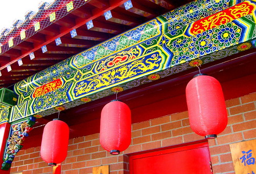 Elaborate architectural details, International Buddhist Temple, Steveston, BC