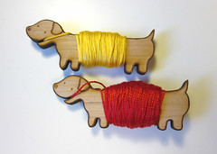 Flossy the Dachshund Embroidery Floss Bobbins (sugar-cookie) Tags: wood horse dog illustration handmade drawing embroidery sewing craft bamboo dachshund pony bobbin unicorn floss flossy