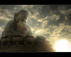 Buddha's Sunset (tamjty) Tags: china sunset sky sun statue bronze clouds canon island temple photography hongkong eos photo asia warm buddha religion buddhism monks 7d buddah hdr lantauisland lantau tungchung 3xp 1585mm