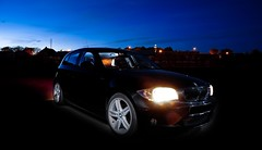 BMW 1 series (E87 Hatchback) M Sport (L.C.Nttaasen) Tags: camera blue sky black sport norway night 1 evening stavanger nikon long exposure shot dusk flash tripod sb600 creative deep commons m 600 manuel bmw series 18 rims sb xenon hatchback exposures 116i d90 triggered e87 strobist of magnera