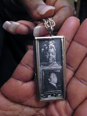 Necklace with Pictures of Mary Johnson and Her Son