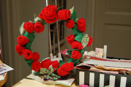 Finished craft: Wool Roses in a wreath
