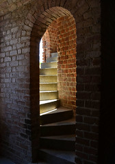 steps fort clinch florida 6438 (Light of the Moon Photography) Tags: old light shadow red sunlight brick beach dark nikon angle fort steps mortar curve serpentine fernandina d7000