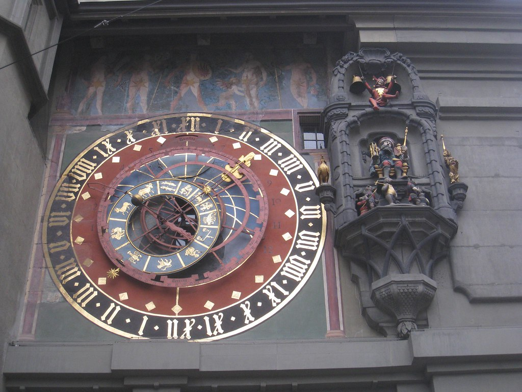 The city's town clock in action