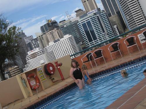 Girls having a swim