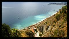 Taormina - Sicily (Z!6) Tags: blue sea italy cloud white green clouds boats bay boat italia honeymoon hills shore sicily taormina 2008 catania sicilia tripadvisor