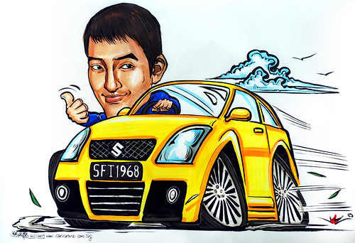 Car caricature Suzuki Swift
