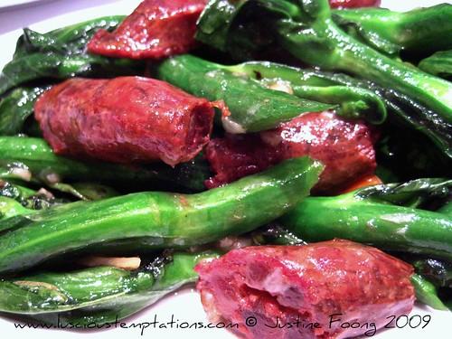 Fried Kai Lan with Goose Liver Sausage - Yung Kee, Hong Kong