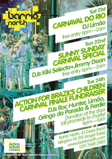 party flyer for carnaval fundraiser party at barrio north, N1