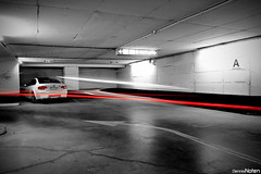 ///M3. (Denniske) Tags: lighting light white 3 speed underground nice long parking tripod dramatic shutter coloring bmw series m3 blanche wit weiss coupe colouring flares selective bwcolor colorkey bwcolour e92