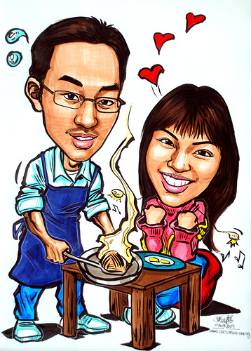 Couple caricatures amateur cooking for girlfriend