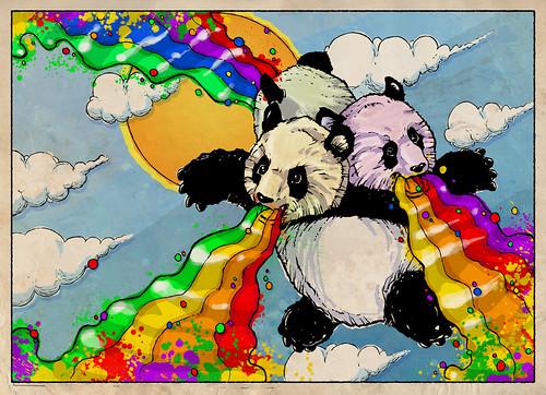 Pandas vomitan arco iris