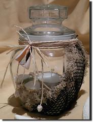 Beach Under Glass - Tealight Candle Holder w/ Black Netting (A2SeaCreations) Tags: ocean original light sea shells canada beach glass shop seashells island st