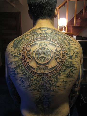 Aztec Calendar by Coastline Tattoo