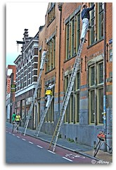 At Work,Groningen stad,the Netherlands,Europe (Aheroy(2Busy)) Tags: street city holland art netherlands dutch architecture photomanipulation work fun town europe paint colours different arts nederland surreal hallucination groningen stad beautifull singleraw aheroy aheroyal